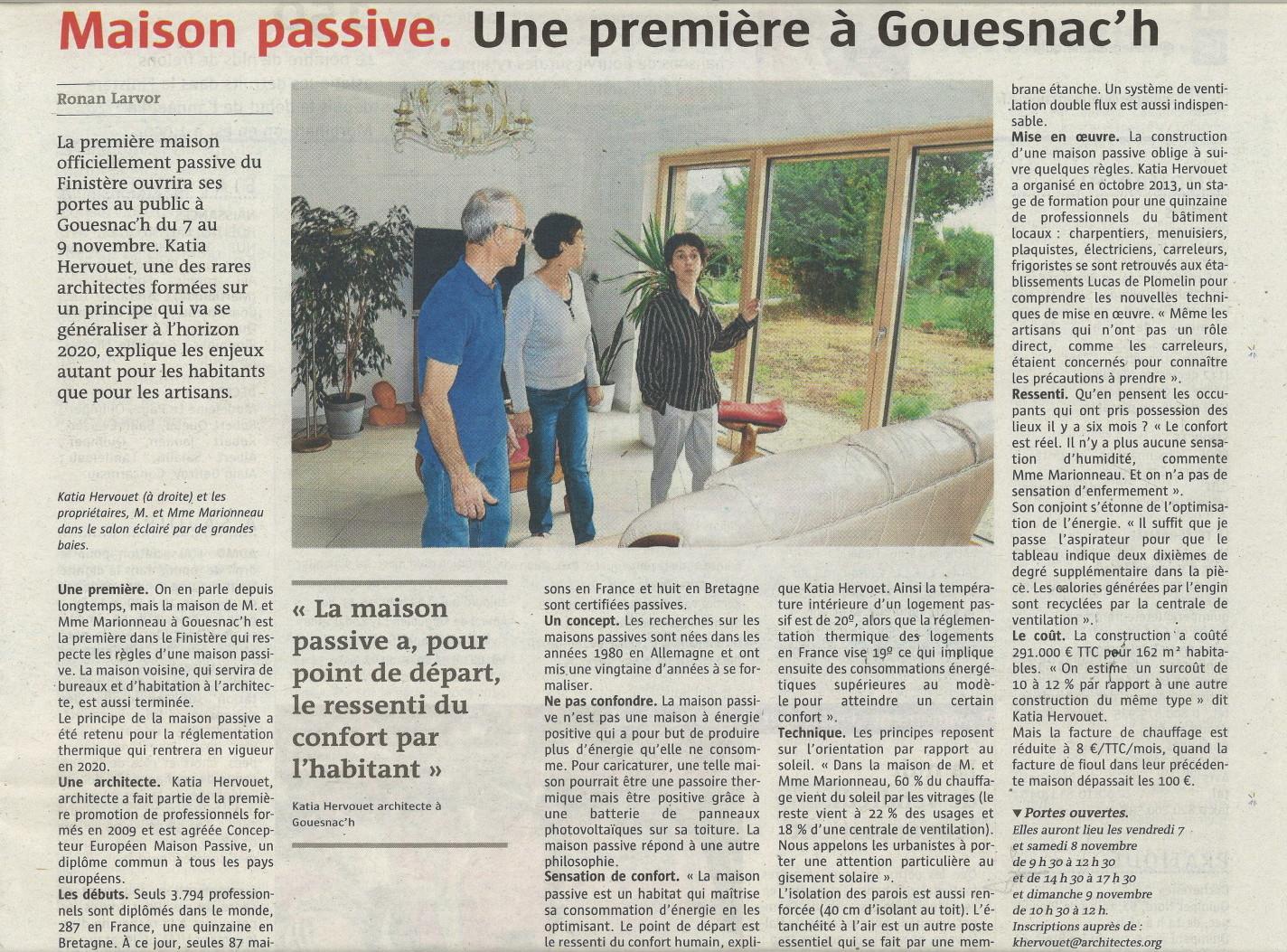 Katia HERVOUET architecte première maison passive Finistère
